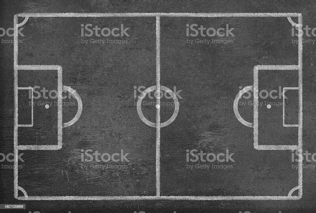 Empty Soccer Field on a Blackboard vector art illustration
