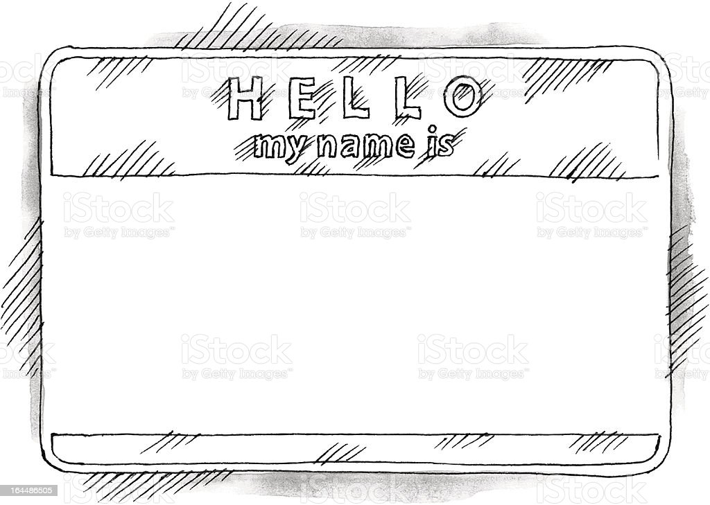 Empty sticker tag hello my name is watercolor drawing sketch royalty-free stock vector art