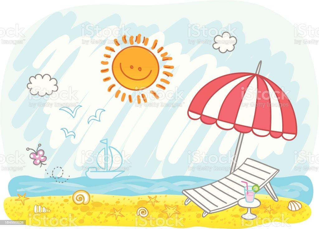 empty summer holiday beach cartoon illustration royalty-free stock vector art