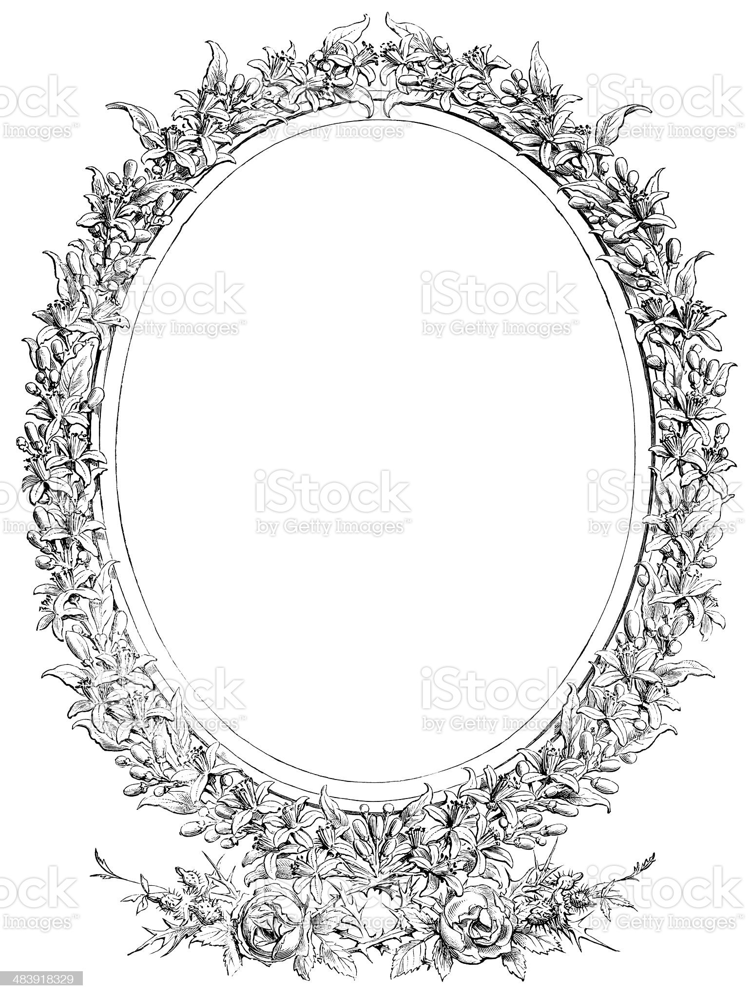Empty Victorian woodcut floral frame royalty-free stock vector art