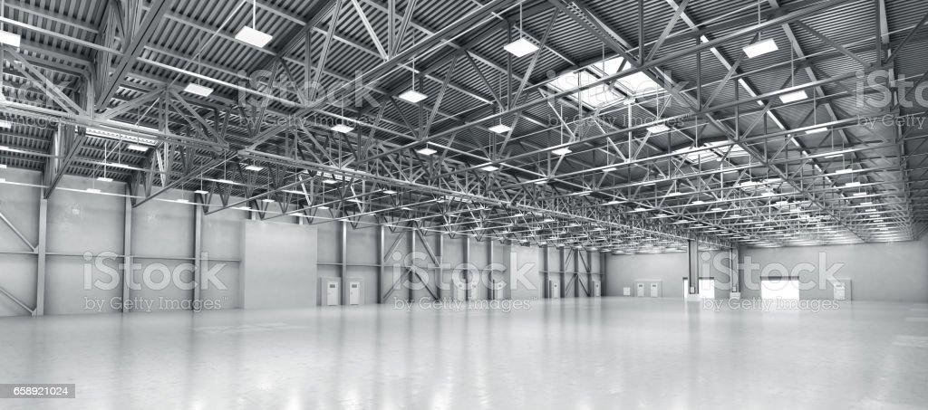 Empty warehouse. 3d illustration vector art illustration
