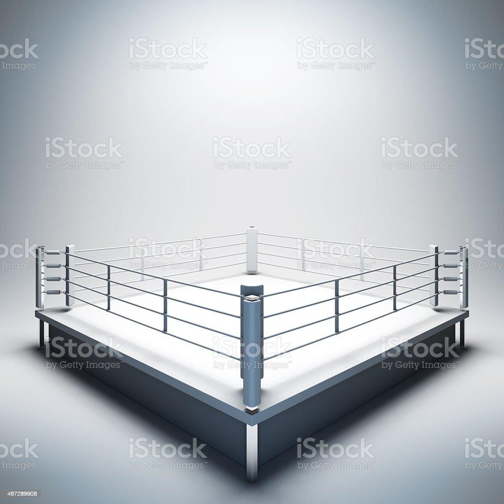 Empty white boxing ring. vector art illustration