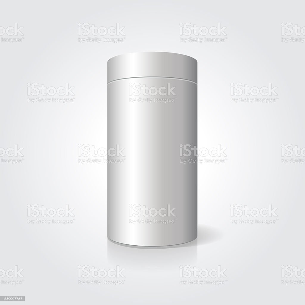 Empty white cylindrical box on the isolated background vector art illustration