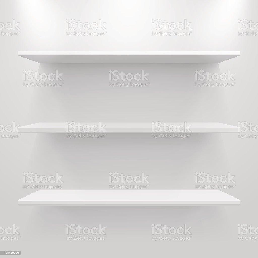 Empty white shelves vector art illustration