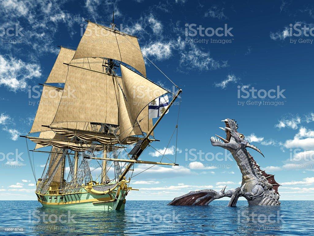 Encounter on the High Seas vector art illustration