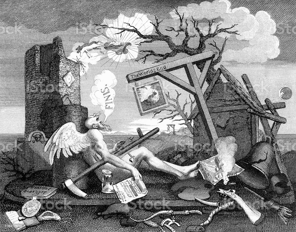End of the World by William Hogarth, circa 1760s royalty-free stock vector art