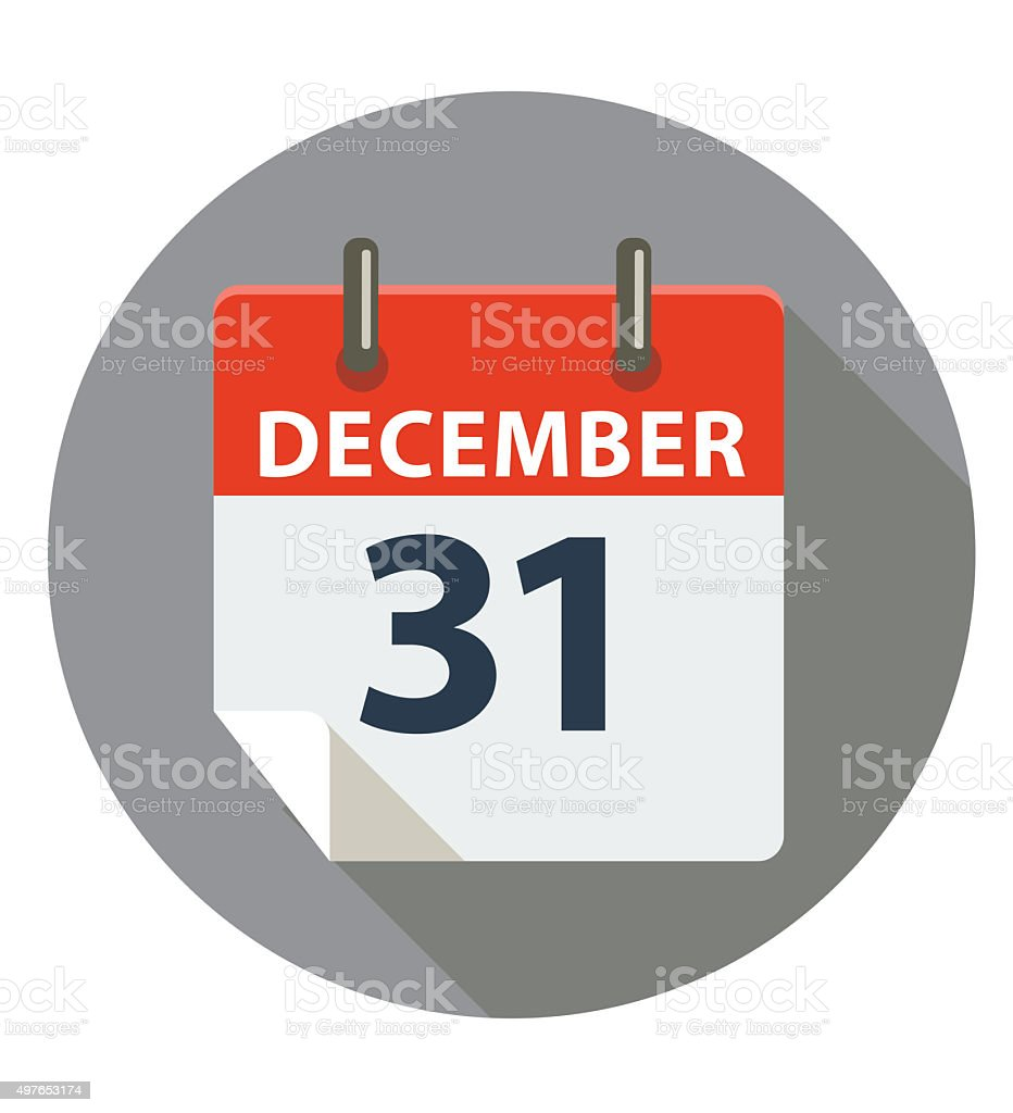 end of year day calendar vector art illustration