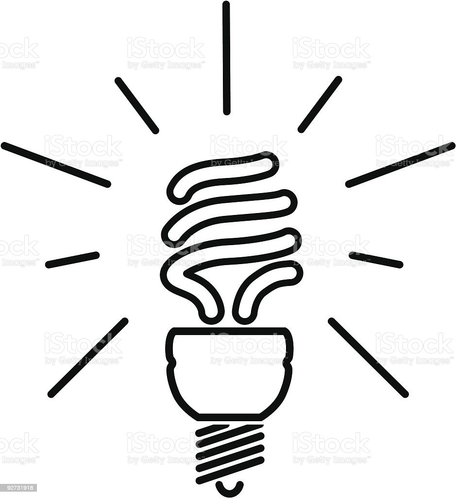 Energy saving fluorescent light bulb royalty-free stock vector art