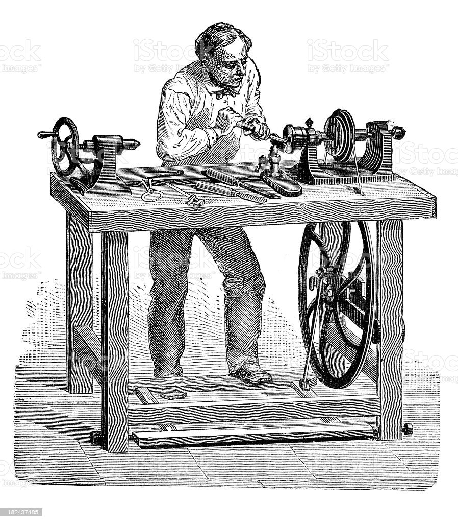 Engarving carpenter working at lathe vector art illustration