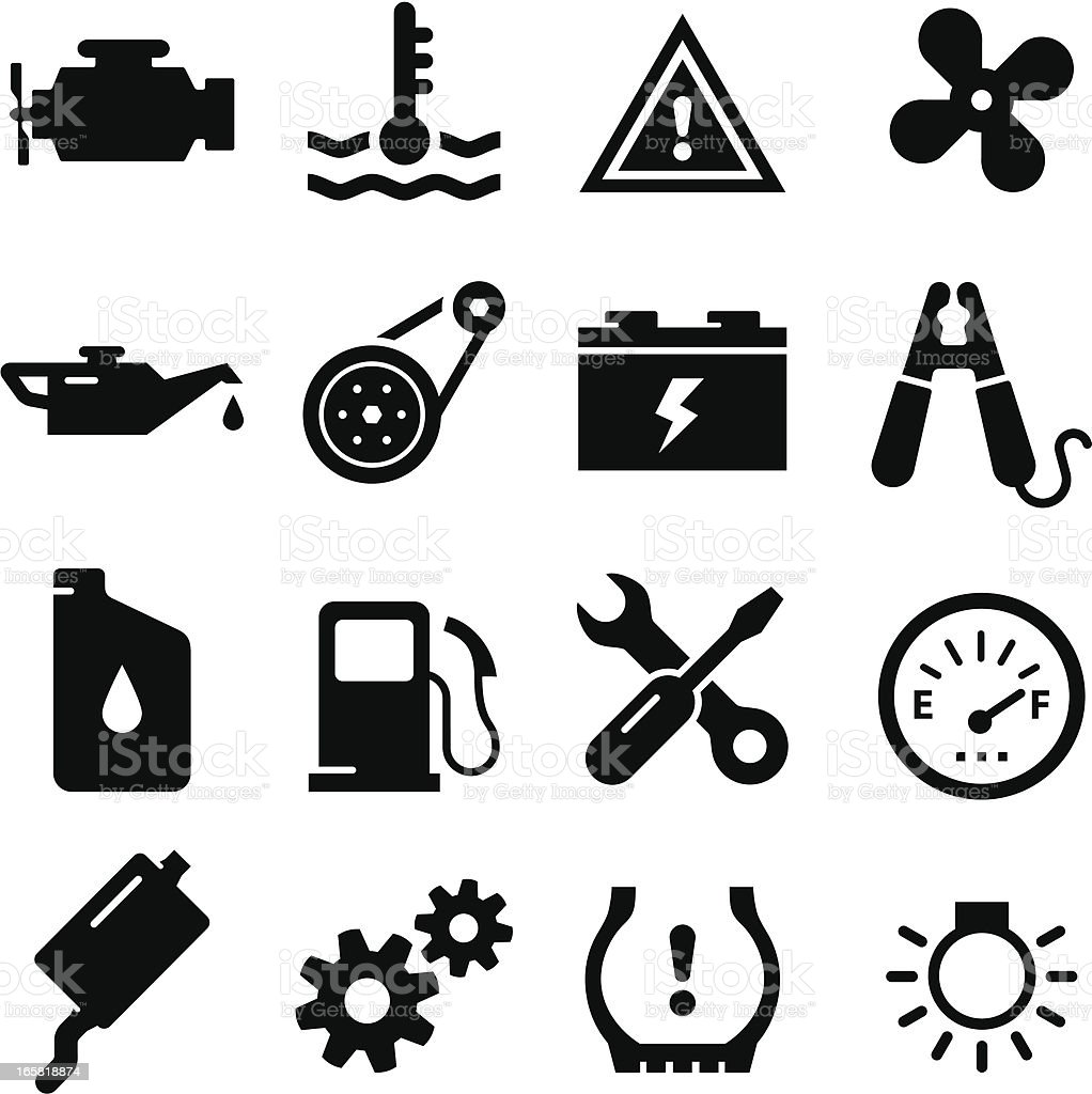 Engine Parts - Black Series royalty-free stock vector art