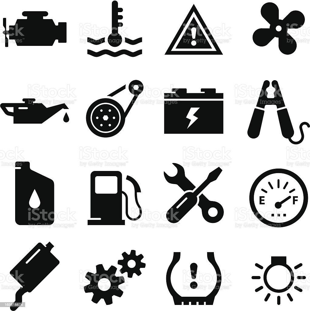 Engine Parts - Black Series vector art illustration