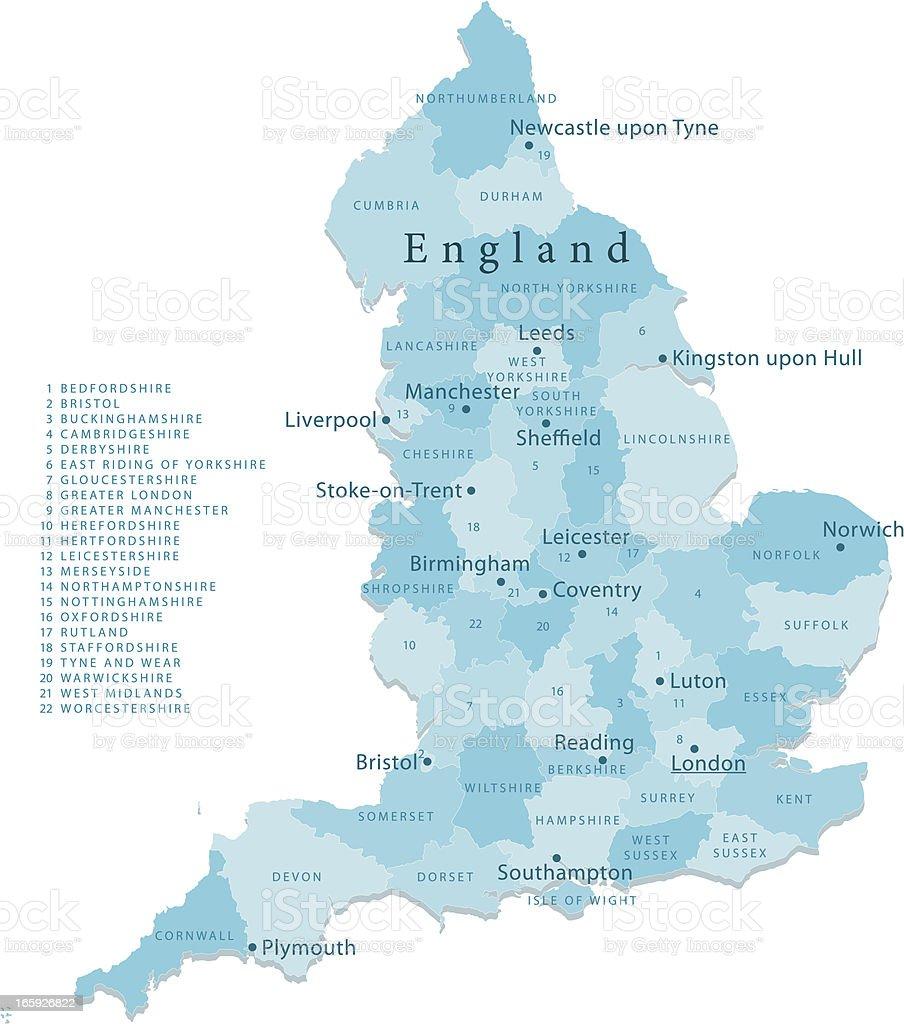England Vector Map Regions Isolated vector art illustration