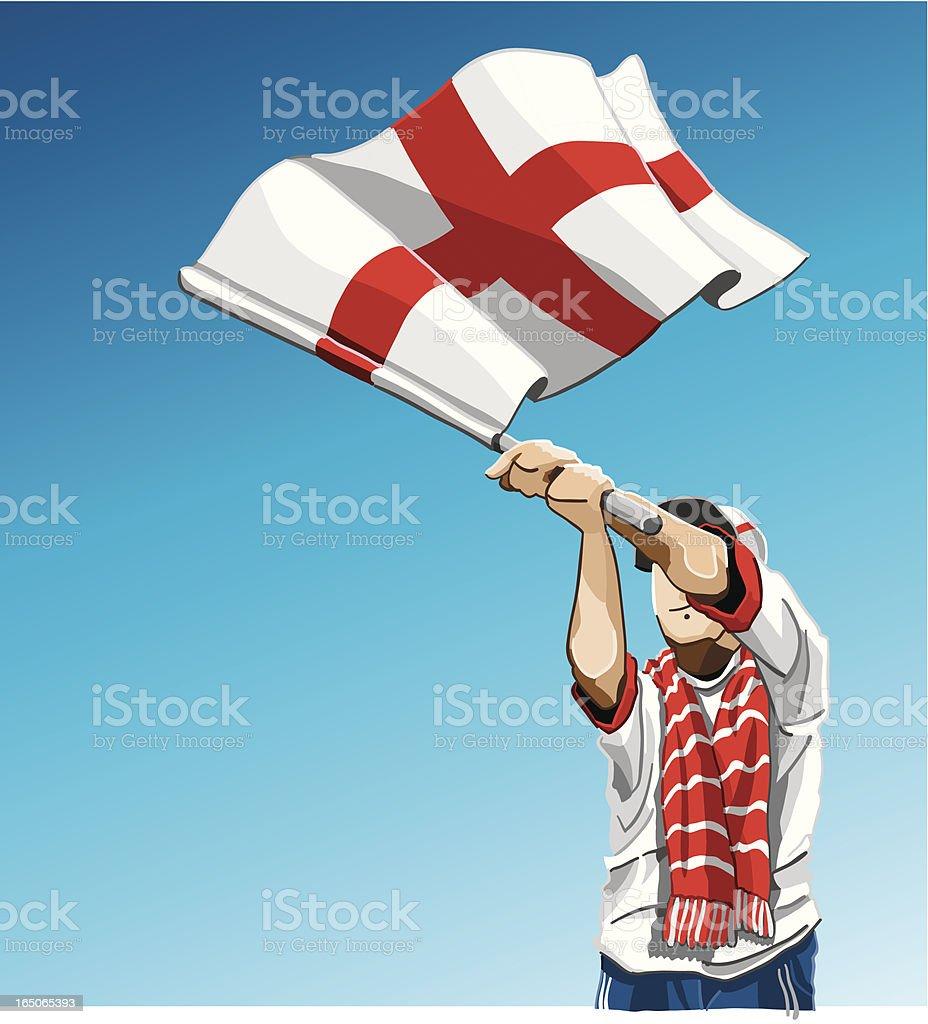 England Waving Flag Soccer Fan royalty-free stock vector art