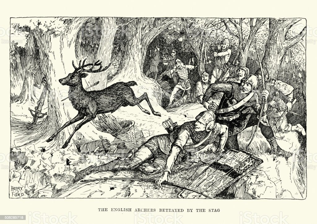 English archers betrayed by the stag vector art illustration