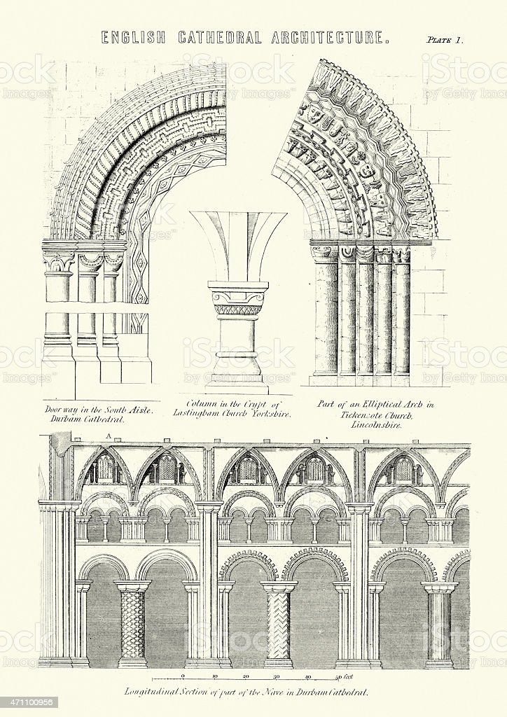 English Cathedral Architecture vector art illustration