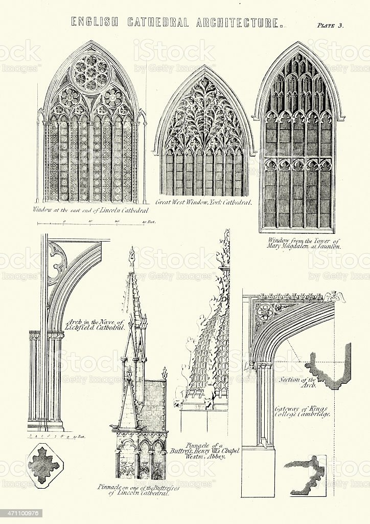 English Cathedral Architecture - Windows and Arches vector art illustration