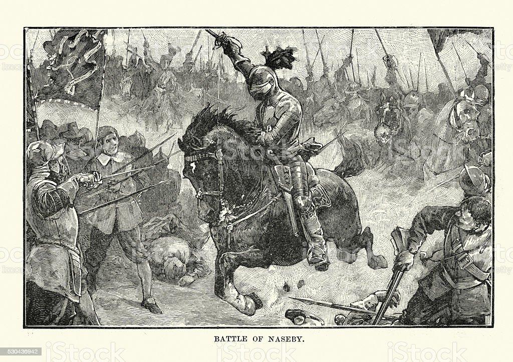 English Civil War - Battle of Naseby 1645 vector art illustration