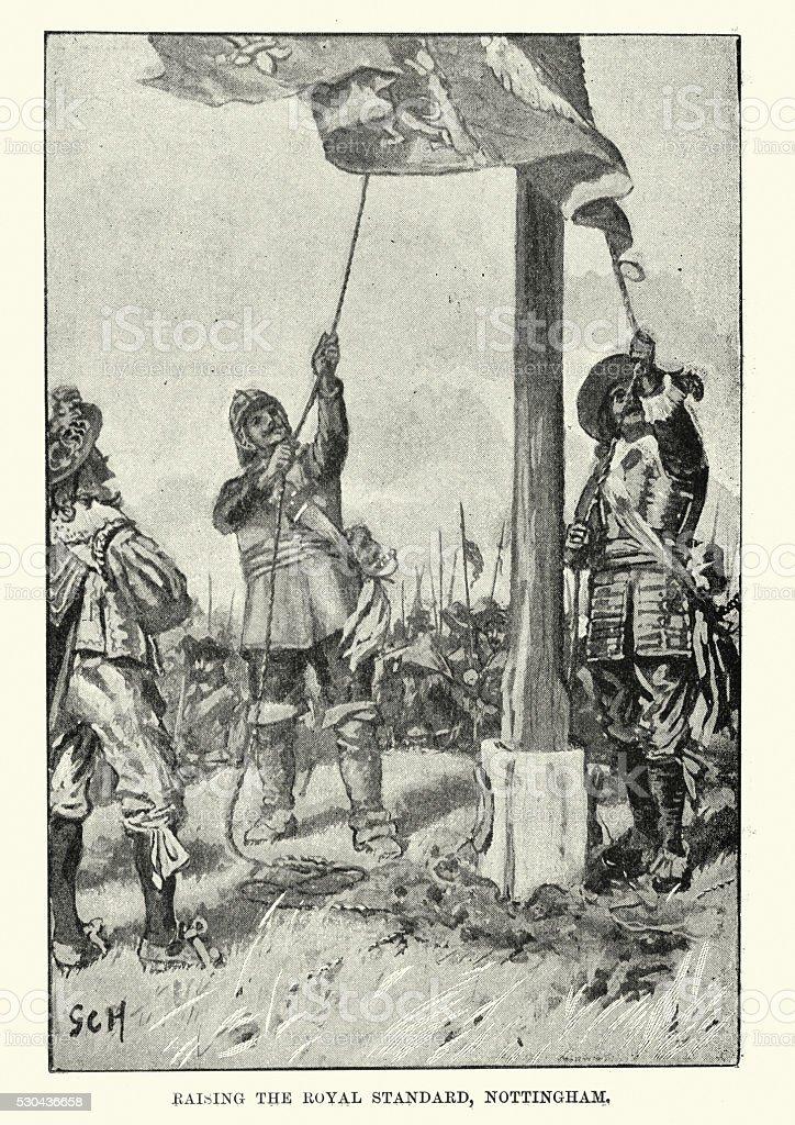 English Civil War - Raising the Royal Standard vector art illustration