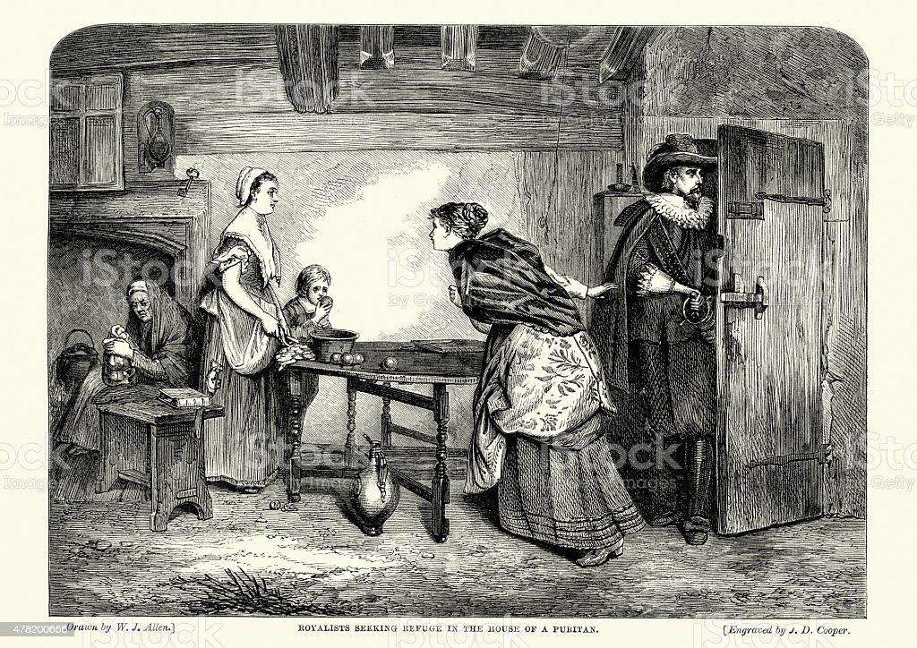 English Civil War - Royalists seeking refuge vector art illustration