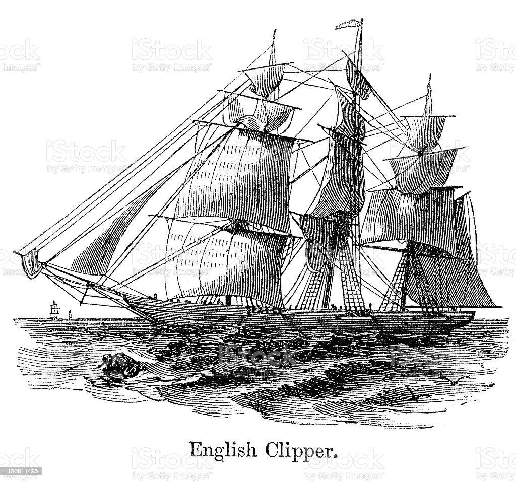 English Clipper Ship vector art illustration