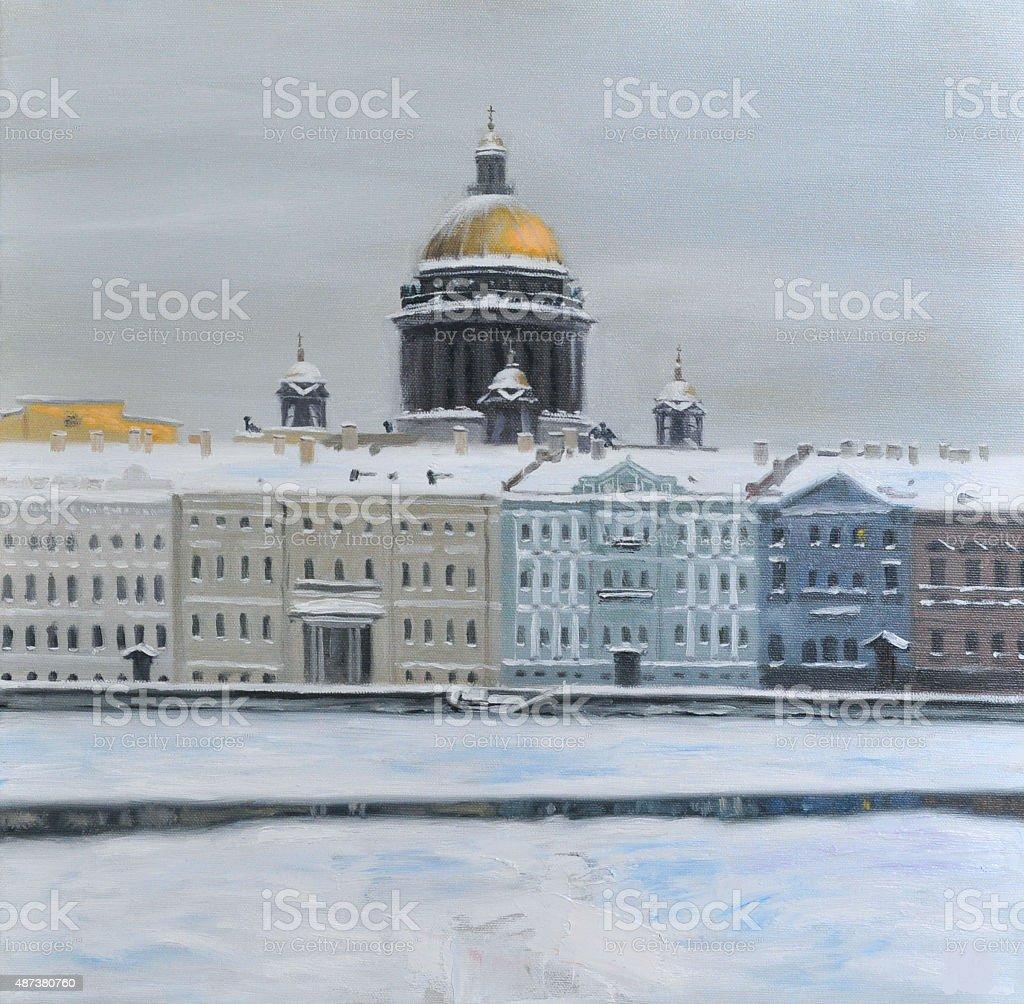 English embankment in Saint-Petersburg, winter. Oil painting. vector art illustration