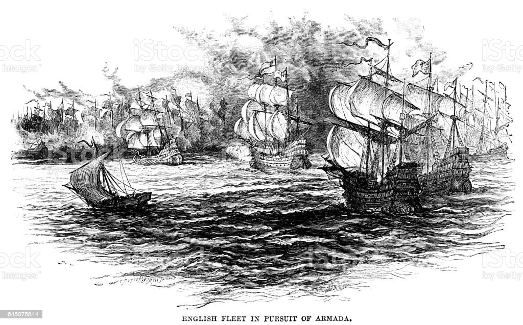 English fleet in pursuit of the Spanish Armada vector art illustration