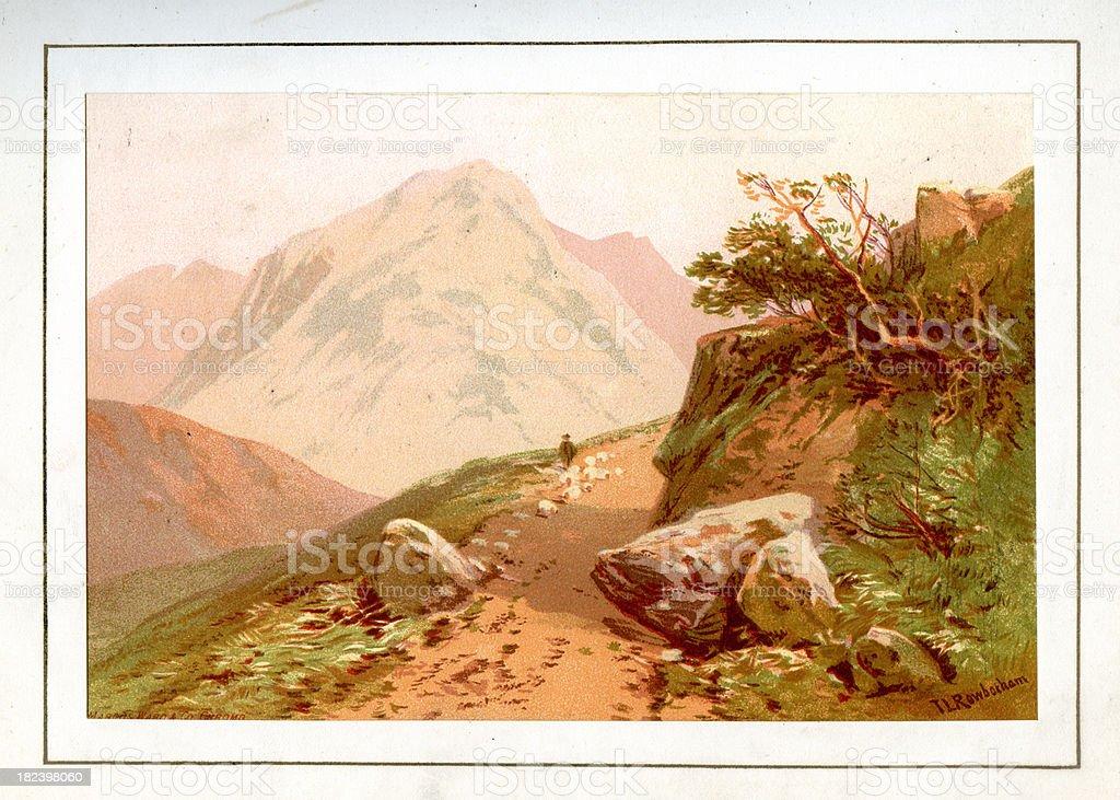 English Lake District - Eagle Crag vector art illustration
