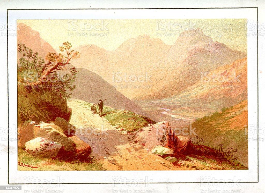 English Lake District - Langdale vector art illustration