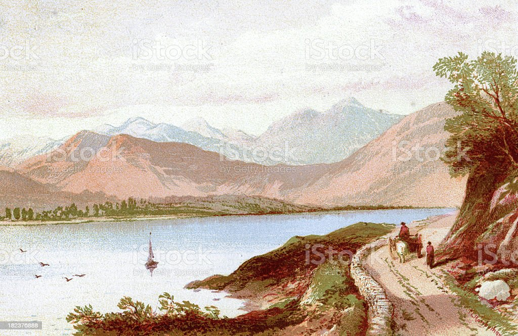 English Lake District - Windermere vector art illustration