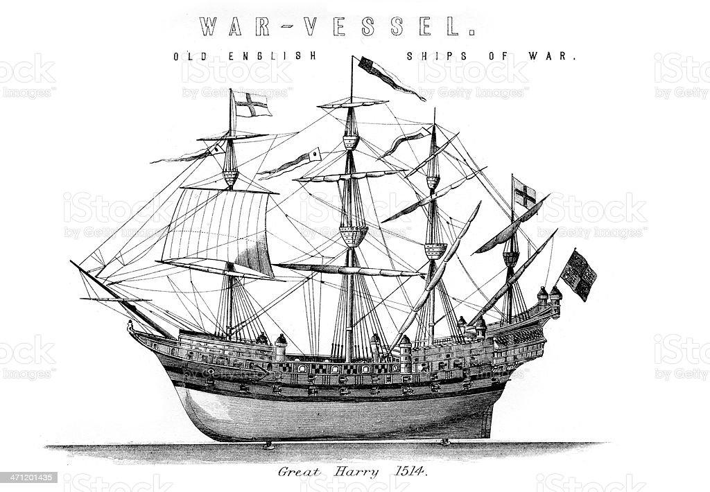 English Royal Navy Warship Great Harry royalty-free stock vector art