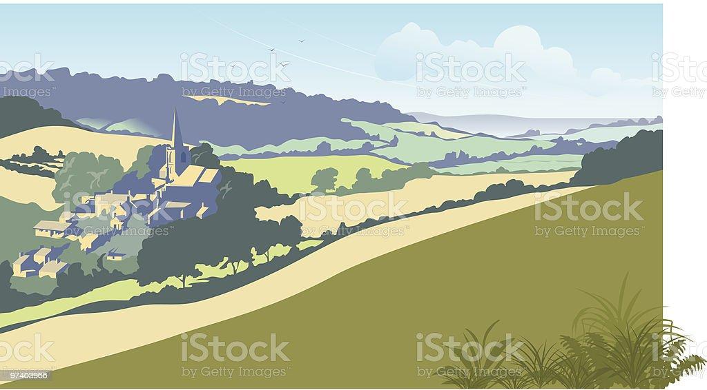 English summer landscape vector art illustration