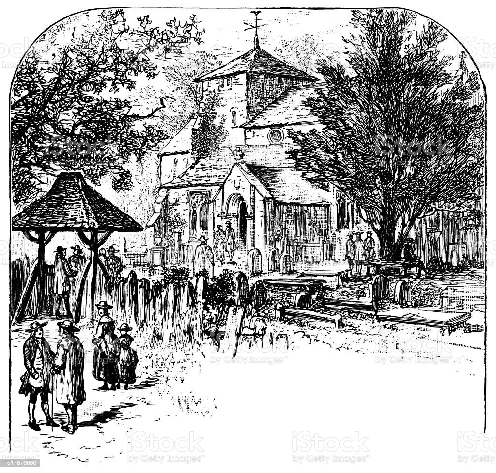 English village church with congregation outside vector art illustration