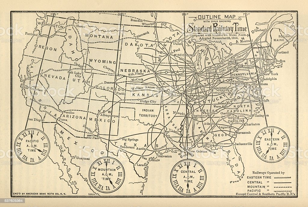 Engraved Chart of United States Time Zones, Circa 1883 vector art illustration