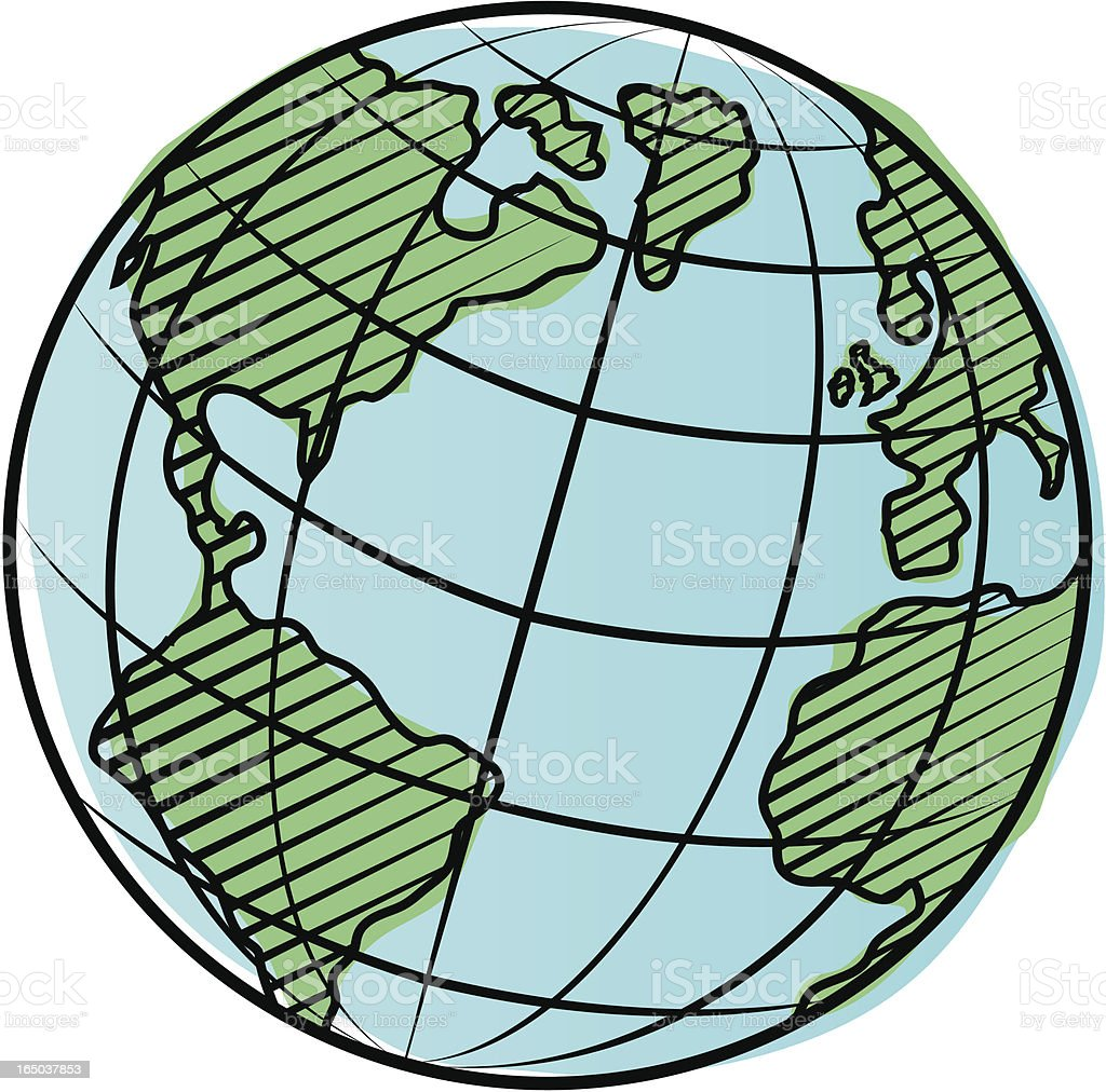 Engraved globe two. royalty-free stock vector art