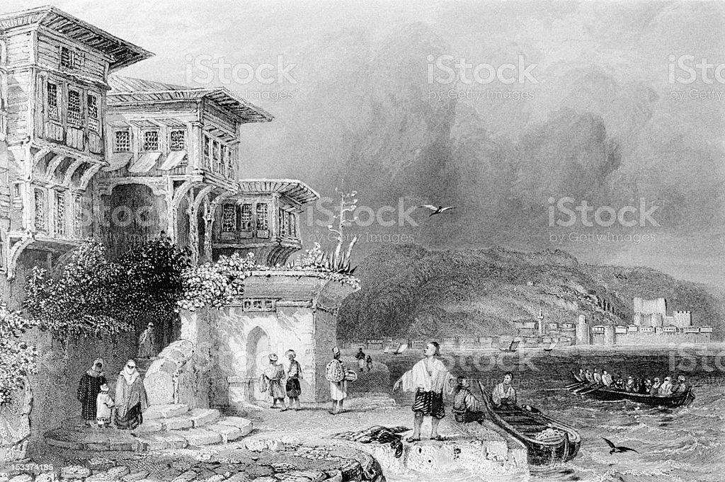 Engraved image - istanbul Bosphorus royalty-free stock vector art