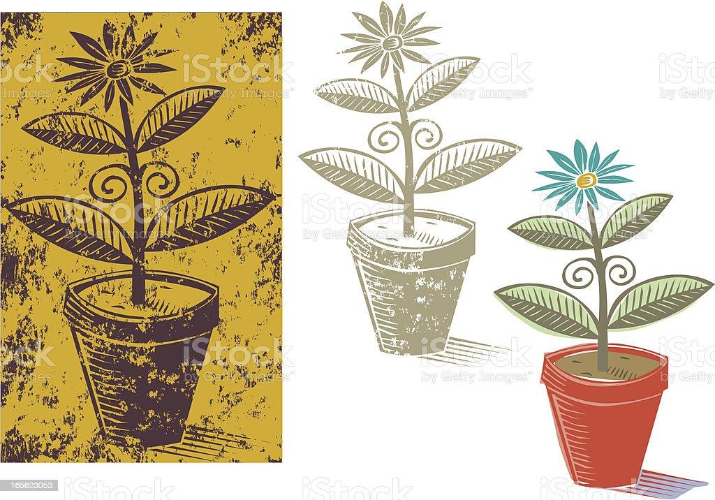 Engraved plant vector art illustration