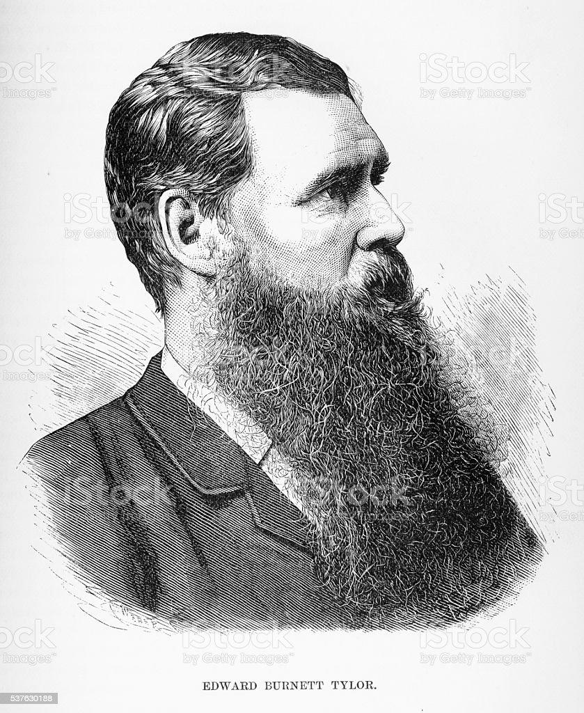 Engraved Portrait of Anthropologist Sir Edward Burnett Tylor, Circa 1885 vector art illustration