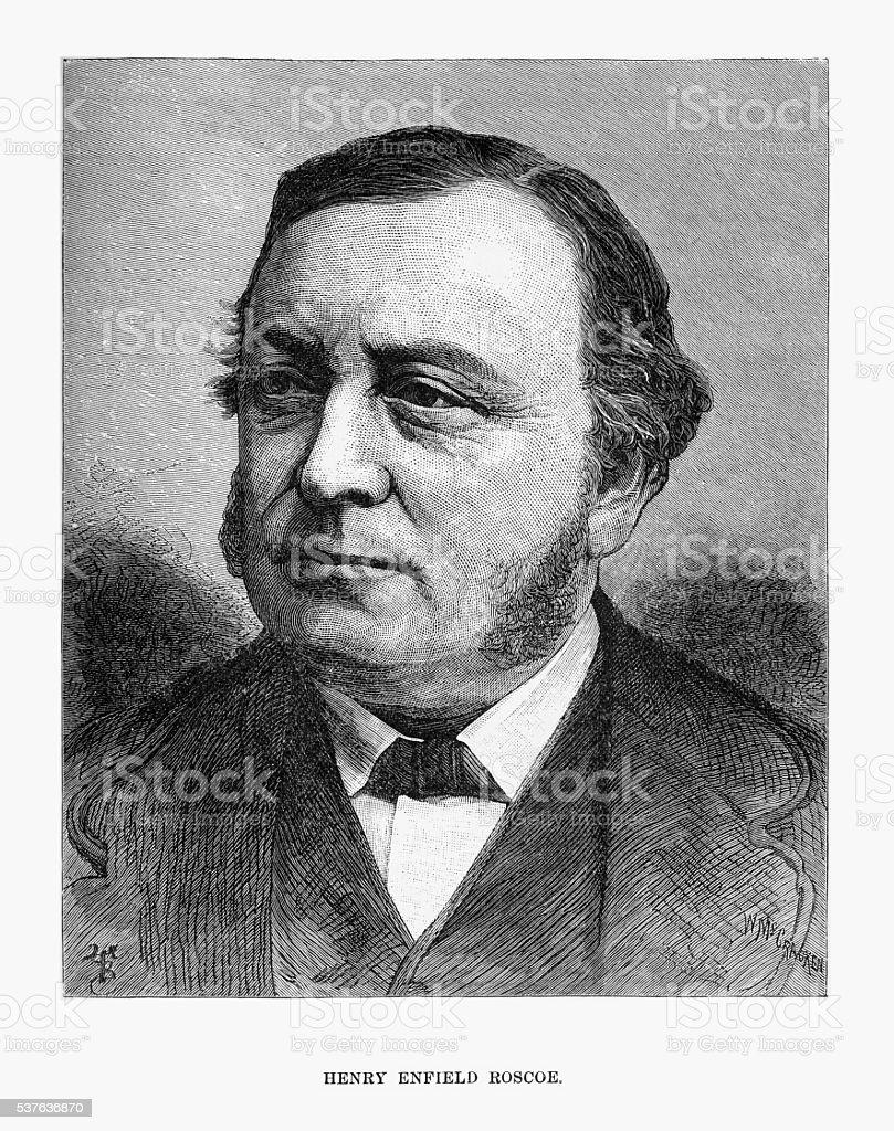 Engraved Portrait of Anthropologist Sir Henry Enfield Roscoe, Circa 1885 vector art illustration