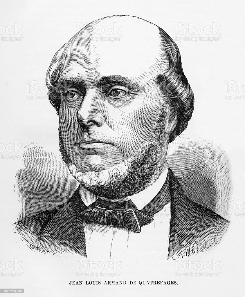 Engraved Portrait of Biologist Jean Louis Armand de Quatrefages, 1880 vector art illustration