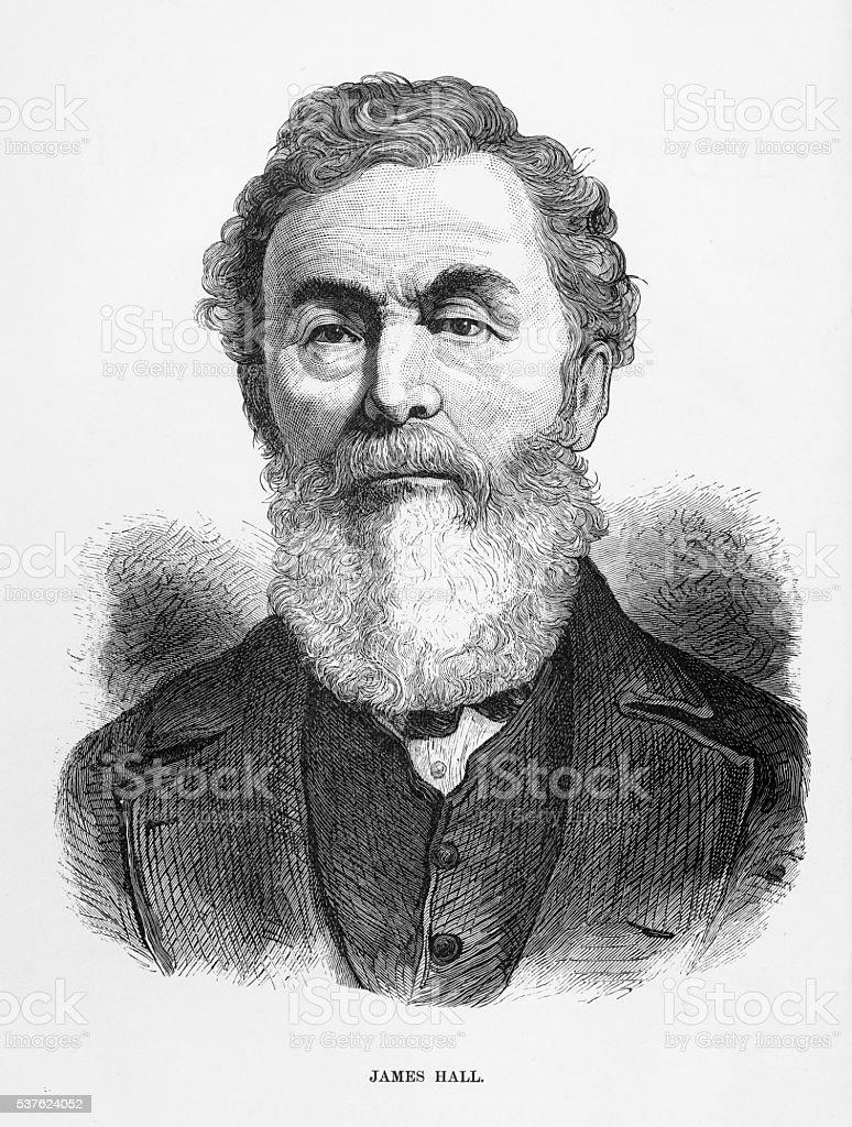 Engraved Portrait of Geologist and Paleontologist James Hall, Circa 1885 vector art illustration