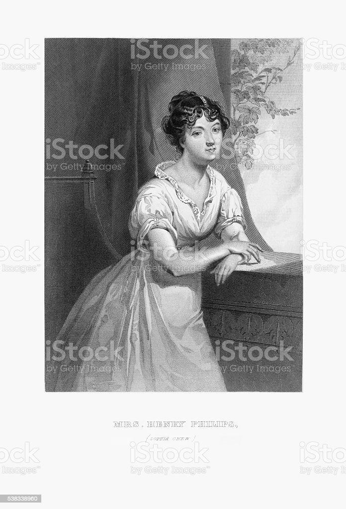 Engraved Portrait of Mrs. Henry Philips, Sophia Chew, Circa 1790 vector art illustration
