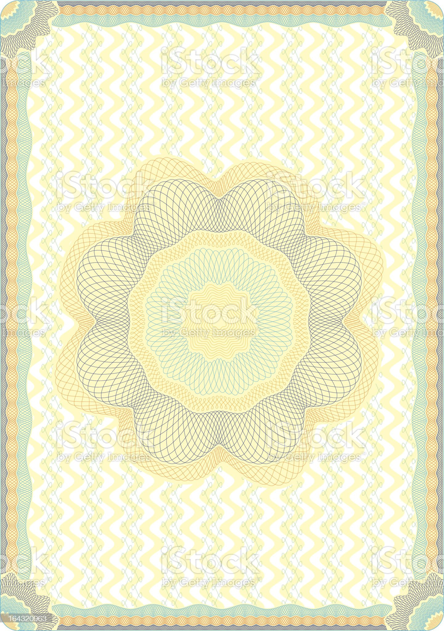 Engraved vector guilloche diploma background royalty-free stock vector art