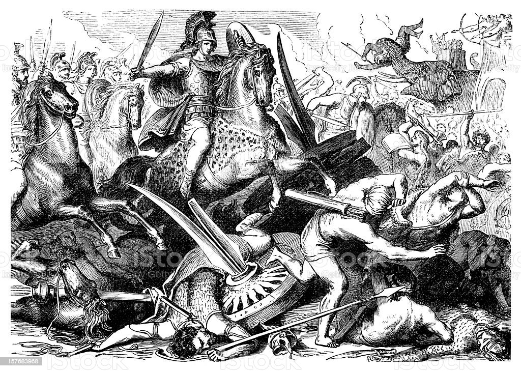 Engraving Aexander the Great at battle of Gaugamela from 1876 royalty-free stock vector art