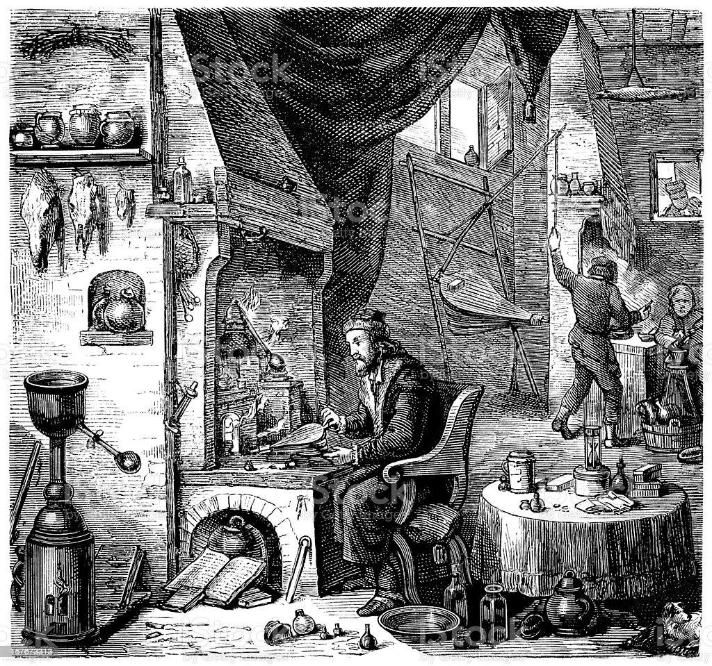 Engraving alchemist investigating in laboratory from 1870 vector art illustration