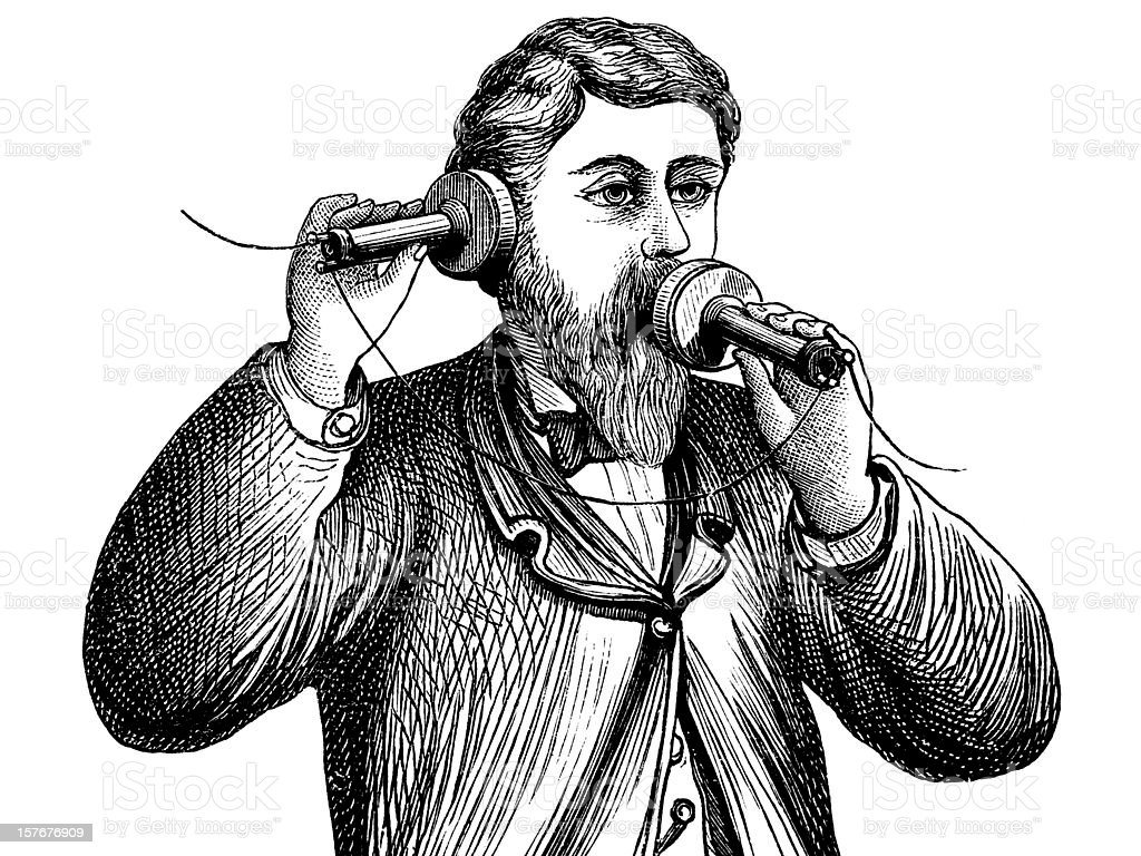 Engraving Alexander Graham Bell making a call on antique telephone royalty-free stock vector art
