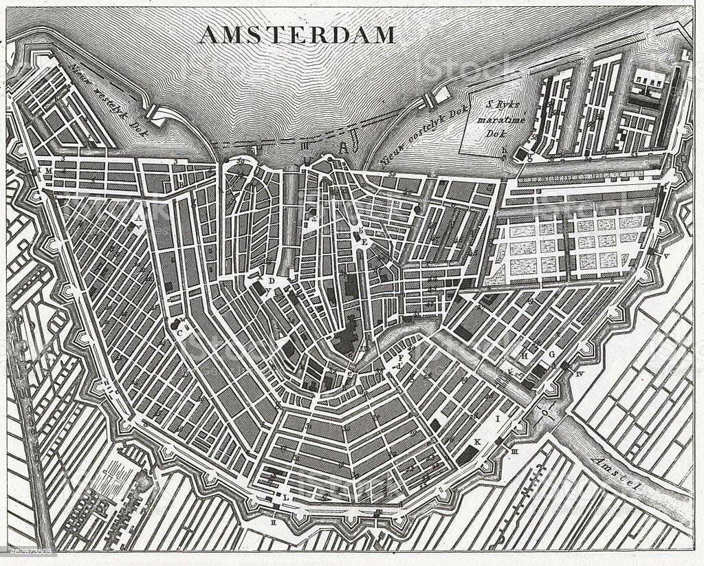 Engraving: Amsterdam vector art illustration
