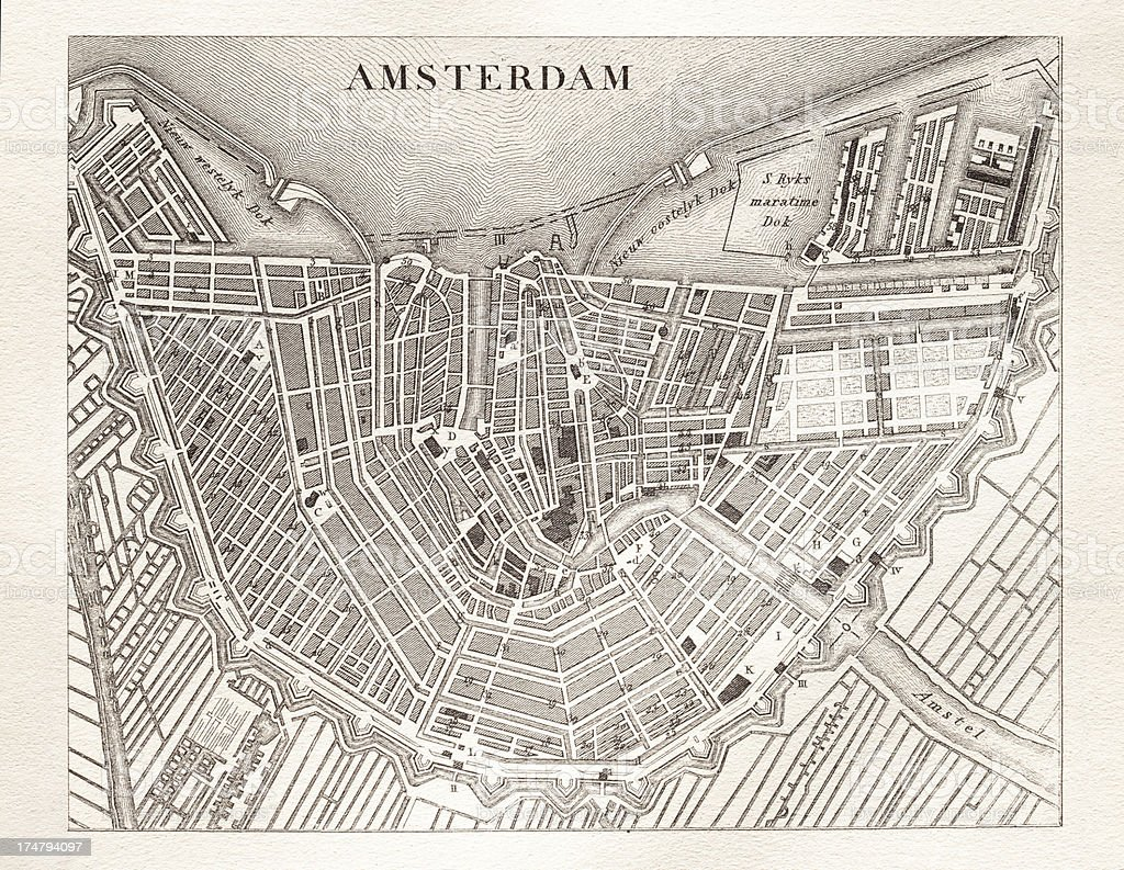 Engraving antique map of Amsterdam netherlands from 1851 vector art illustration