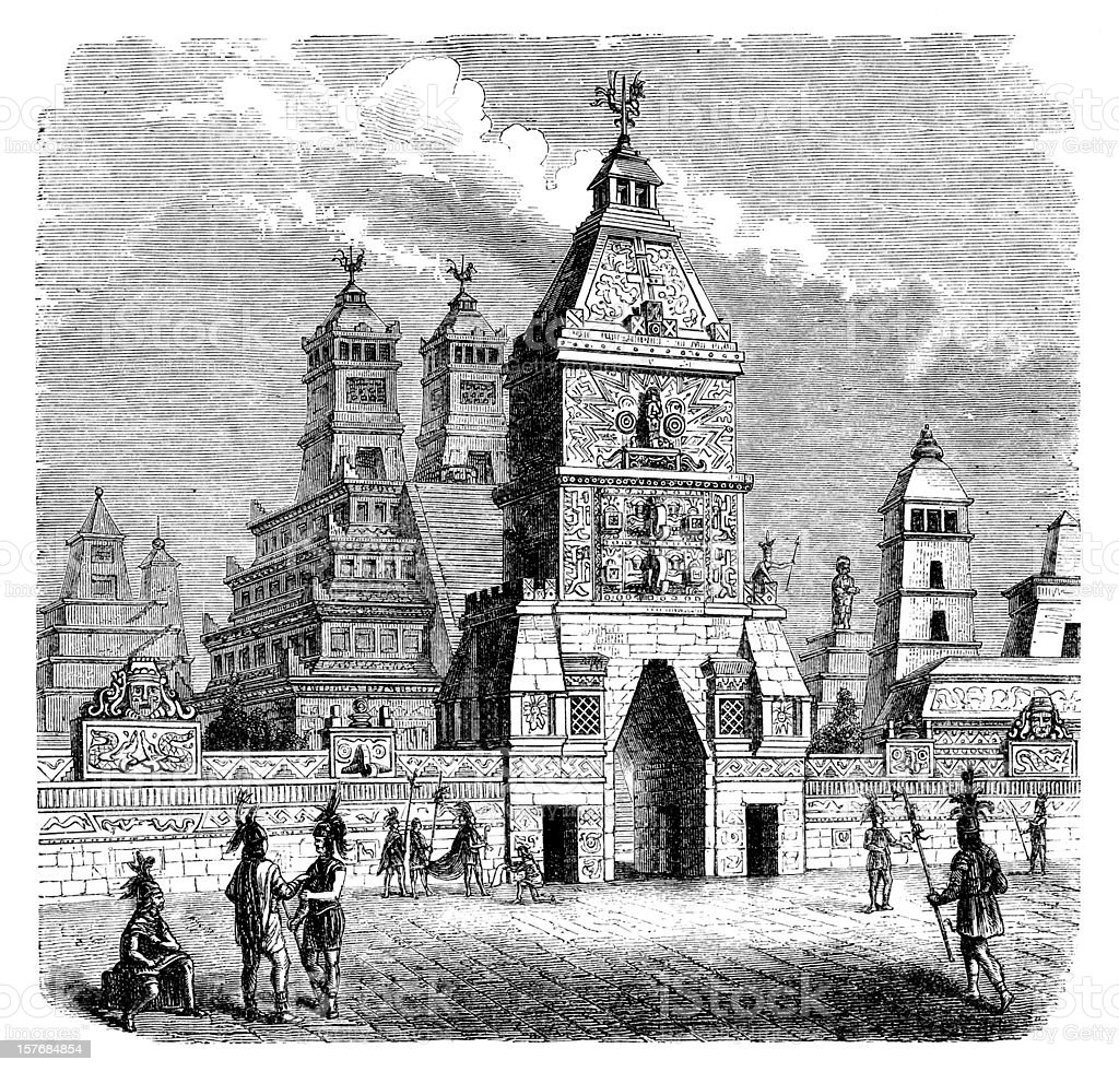 Engraving aztec city Tenochtitlan entrance Teocalli from 1870 vector art illustration
