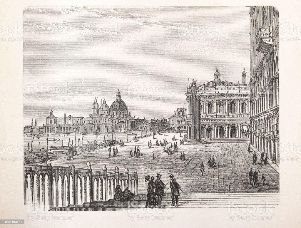 Engraving Basilica di Santa Maria della Salute, Venice Italy royalty-free stock vector art
