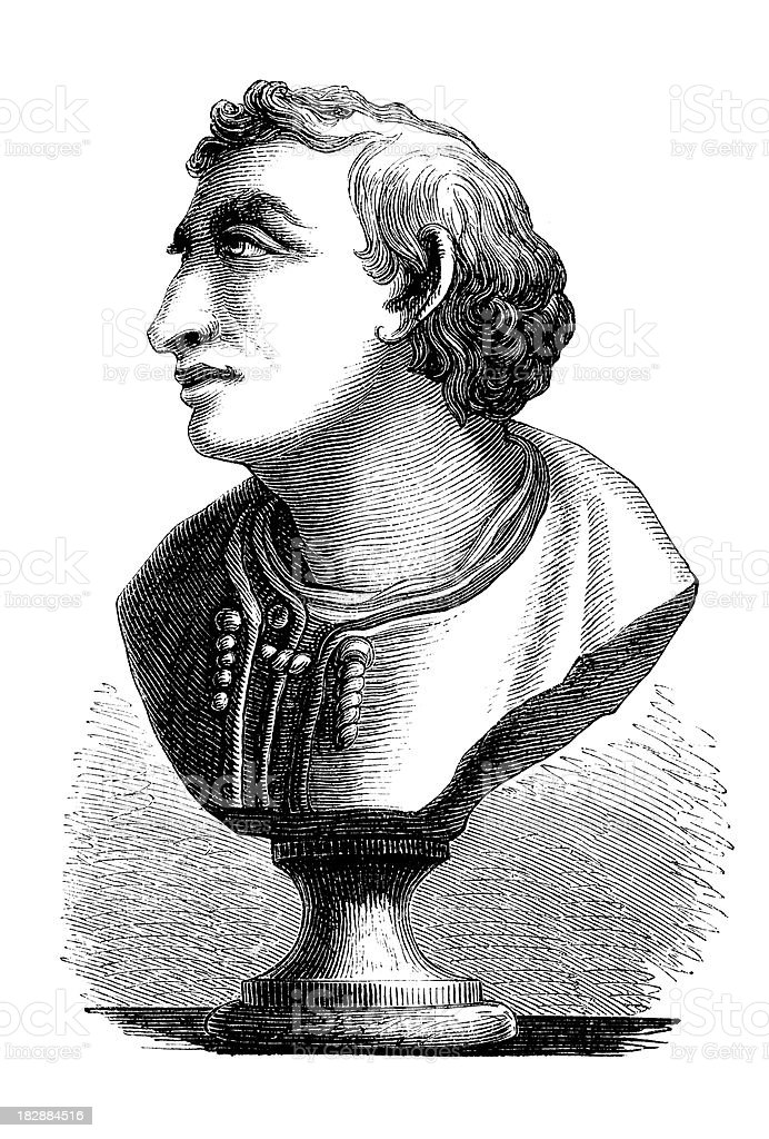 Engraving bust of Amerigo Vespucci italian explorer from 1870 royalty-free stock vector art